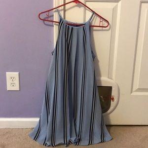 Light blue black and white striped dress